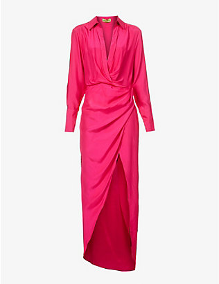 GAUGE81: Naha wrap silk maxi dress