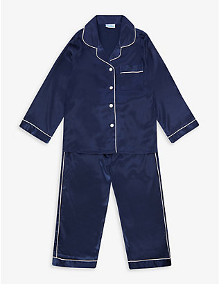 MINI LUNN: Contrast-piping satin pyjamas 2-11 years