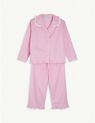 MINI LUNN: Stripe-print ruffle-trimmed cotton pyjamas 2-11 years