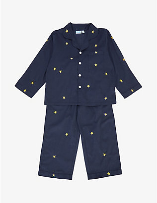 MINI LUNN: Star-embroidered cotton pyjamas 2-11 years
