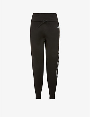 ADIDAS PERFORMANCE: Logo-print tapered high-rise knitted jogging bottoms