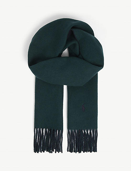 POLO RALPH LAUREN: Logo-embroidered wool-blend scarf