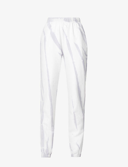 GOOD AMERICAN: Boyfriend mid-rise cotton-jersey jogging bottoms