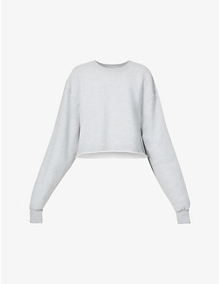 GOOD AMERICAN: Cropped & Cool dropped-shoulder cotton-jersey sweatshirt