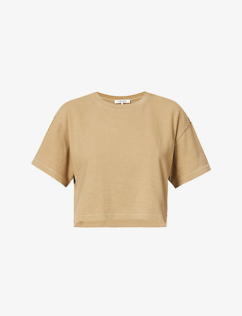 FRAME: Distressed-hem organic cotton-jersey T-shirt
