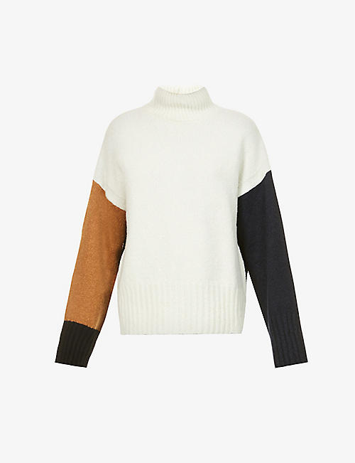 FRAME: Colour-block wool-blend jumper