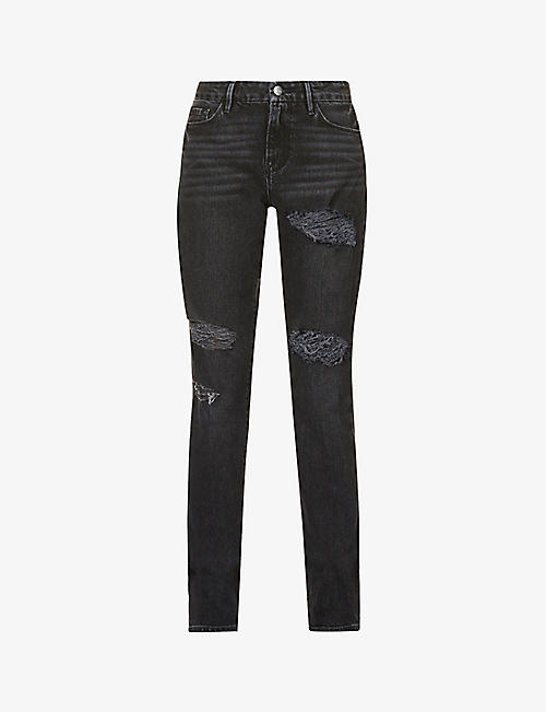 FRAME: Le Mini Boot ripped mid-rise stretch-denim jeans