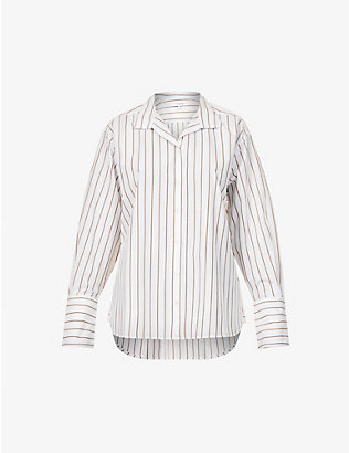 FRAME: Striped relaxed-fit cotton-blend shirt
