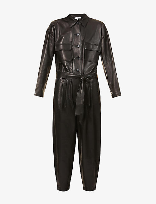 FRAME: Relaxed-fit leather jumpsuit