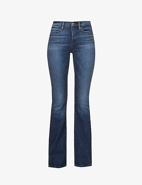 FRAME: Le High Flare high-rise stretch-denim jeans