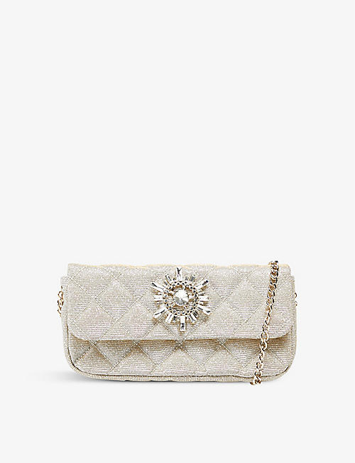 DUNE: Bedazzle embellished woven clutch