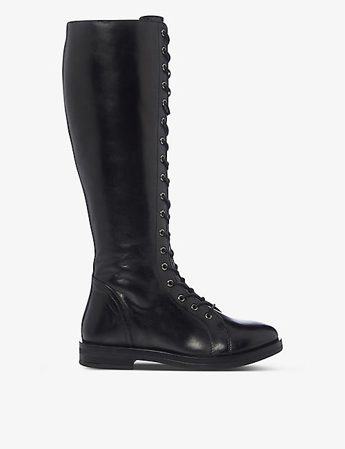 BERTIE: Thimble lace-up leather knee-high boots