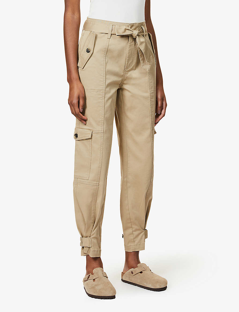 Straight high-rise organic cotton-blend twill cargo trousers