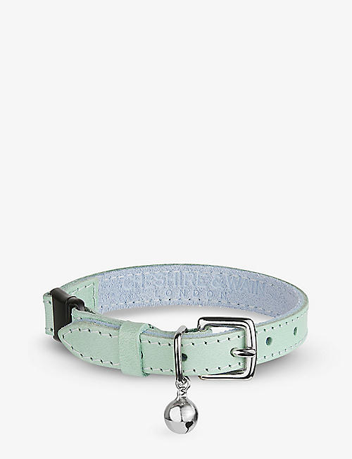 CHESHIRE & WAIN: Pastel Mint leather cat collar with bell