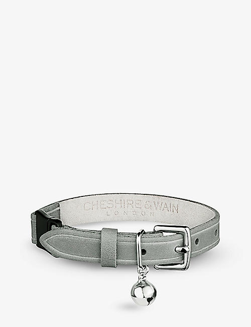 CHESHIRE & WAIN: Muted Heritage Mist leather cat collar