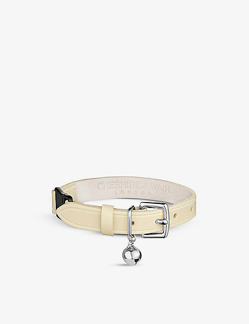 CHESHIRE & WAIN: Heritage Cream leather cat collar