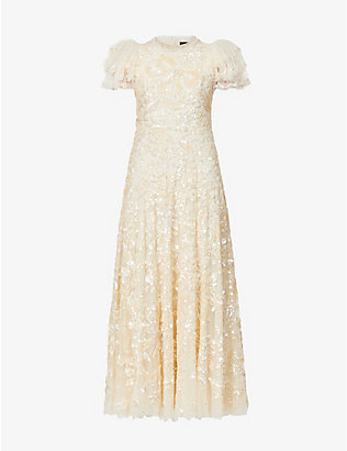 NEEDLE AND THREAD: Shirley Ribbon embellished woven gown