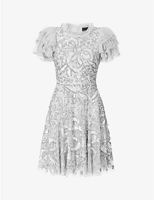 NEEDLE AND THREAD: Shirley Ribbon sequin-embellished woven mini dress