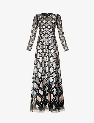 NEEDLE AND THREAD: Sequin Diamond embellished woven gown