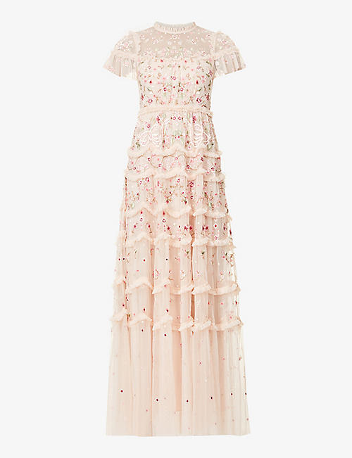 NEEDLE AND THREAD: Elise floral-embroidered mesh gown
