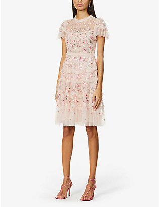NEEDLE AND THREAD: Elsie floral-embroidered woven mini dress