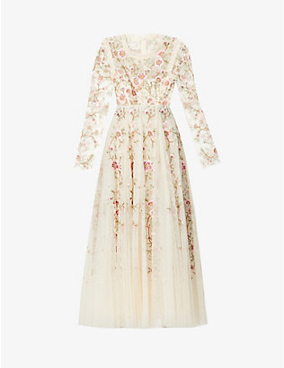 NEEDLE AND THREAD: Lillian floral-embroidered woven gown