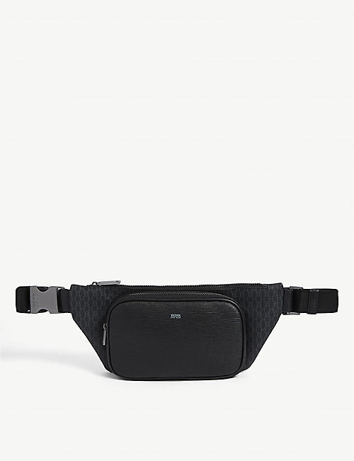 BOSS: Logo-embossed leather belt bag