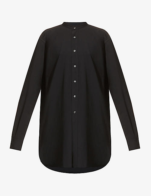 RAINMAKER: Band-collar crepe shirt