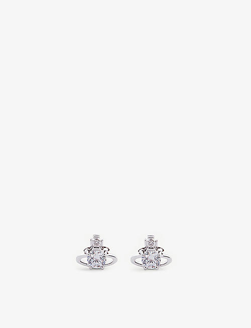 VIVIENNE WESTWOOD JEWELLERY: Reina Orb rhodium-plated brass earrings