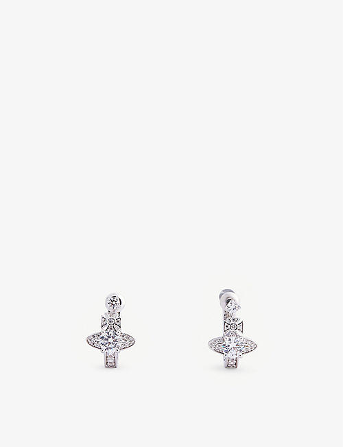 VIVIENNE WESTWOOD JEWELLERY: Maitena orb logo silver-toned brass and crystal earrings