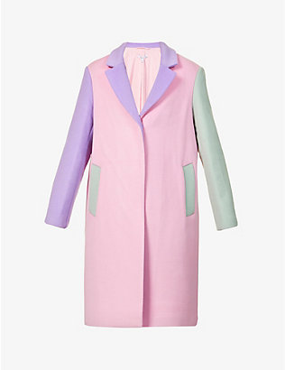 OLIVIA RUBIN: Beatrix colour-block wool-blend coat
