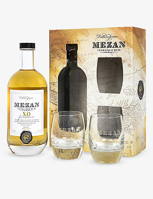 RUM: Mezan extra-old rum and glasses gift set