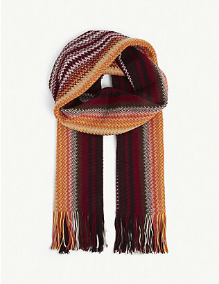 MISSONI: Striped wool-blend scarf