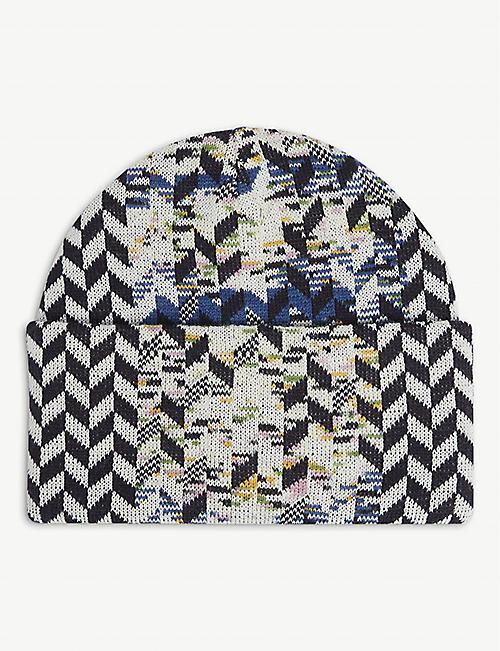 MISSONI: Marl geometric wool-blend beanie