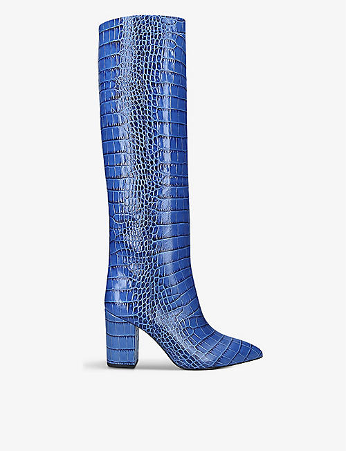 PARIS TEXAS: Block-heel crocodile-embossed leather knee-high boots