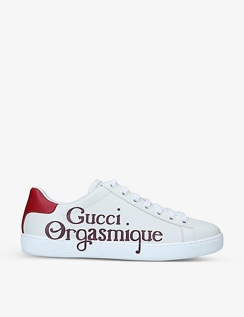 GUCCI: New Ace Orgasmique-print leather trainers