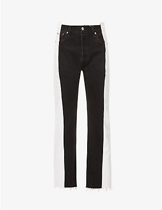 EB DENIM: Upcycled Two Toned straight-leg high-rise jeans