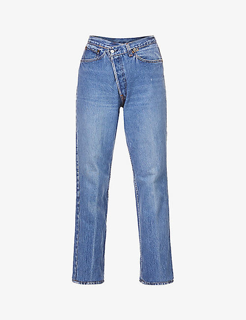 EB DENIM: Upcycled Cross Over straight-leg mid-rise jeans