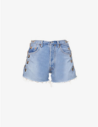EB DENIM: Upcycled Vintage Chain high-rise denim shorts