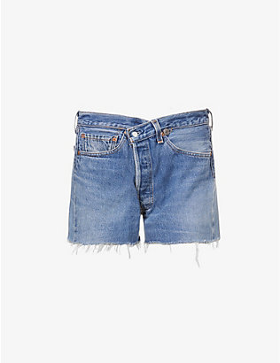 EB DENIM: Upcycled Cross Over asymmetric-front mid-rise denim shorts
