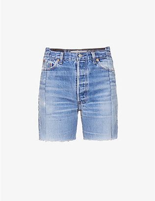 EB DENIM: Upcycled Bermudas stepped-waistband high-rise denim shorts