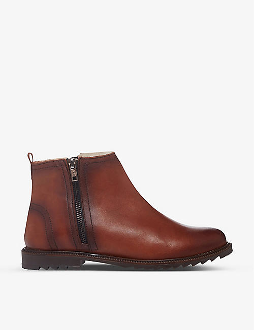 BERTIE: Prestley burnished leather ankle boots