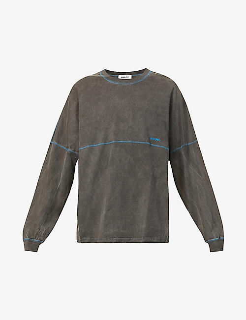 AMBUSH: Brand-embroidered faded cotton-jersey top