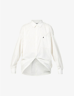 AMBUSH: Brand-embroidered oversized cotton shirt