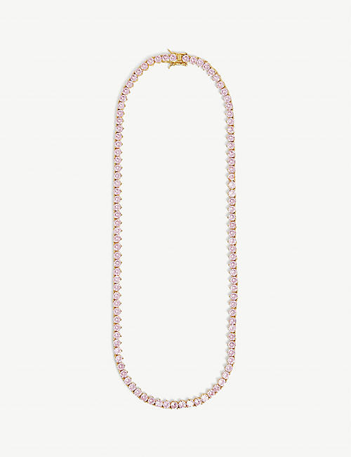 CRYSTAL HAZE: 18kt gold-plated and zirconia necklace