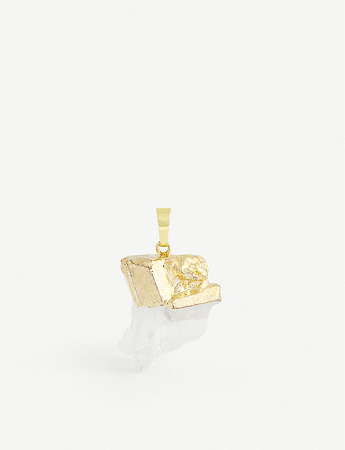 CRYSTAL HAZE: 18k gold-plated and clear quartz pendant