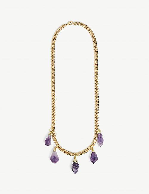 CRYSTAL HAZE: 18k gold-plated and amethyst drop necklace
