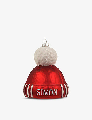 THIE WORKSHOP Bobble Hat personalised glass tree decoration 9cm