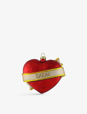 THIE WORKSHOP Heart personalised glass tree decoration 9cm
