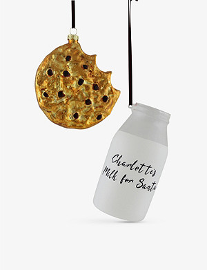 THIE WORKSHOP THIE WORKSHOP x Blondies Kitchen Milk and Cookie personalised glass Christmas decoration